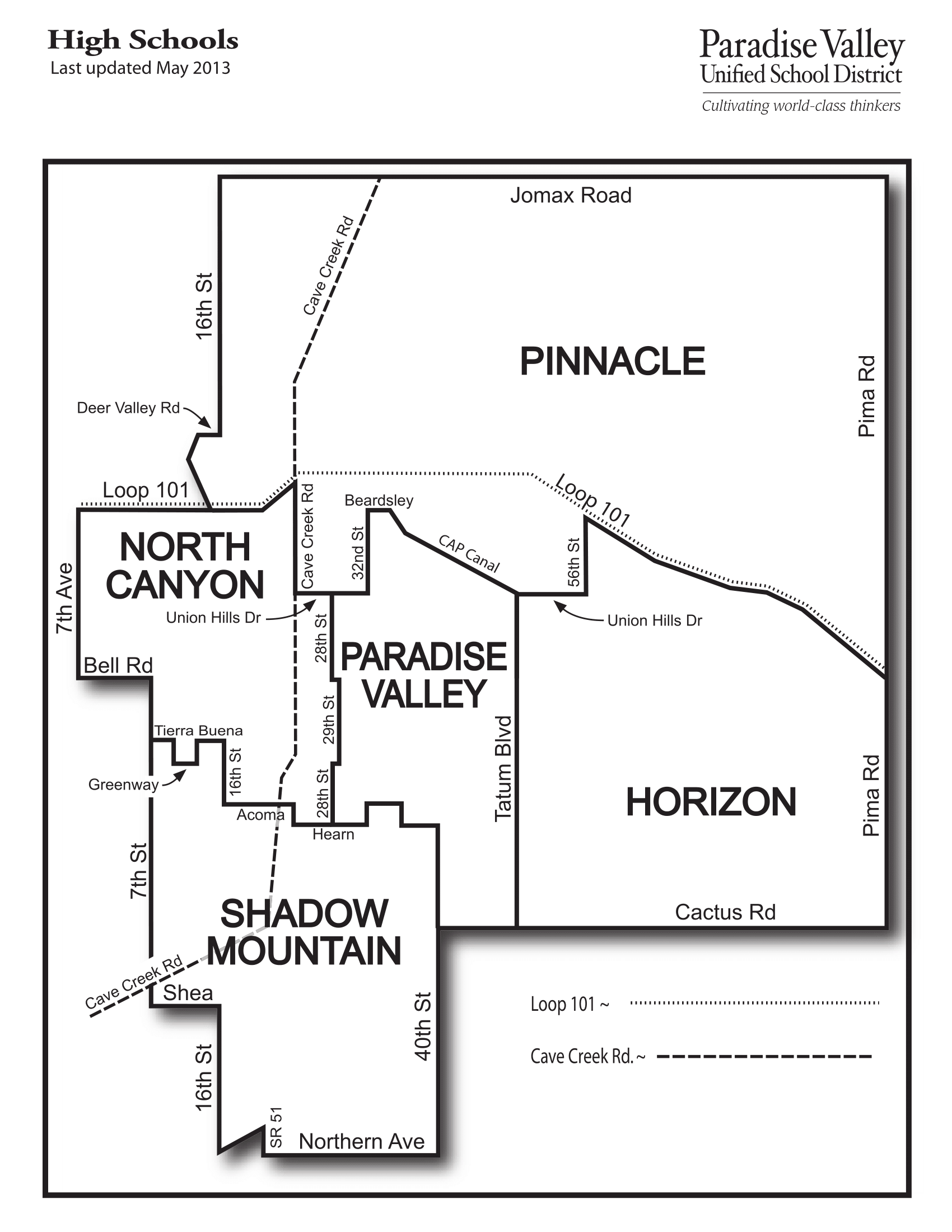 Paradise Valley High School Boundary Map