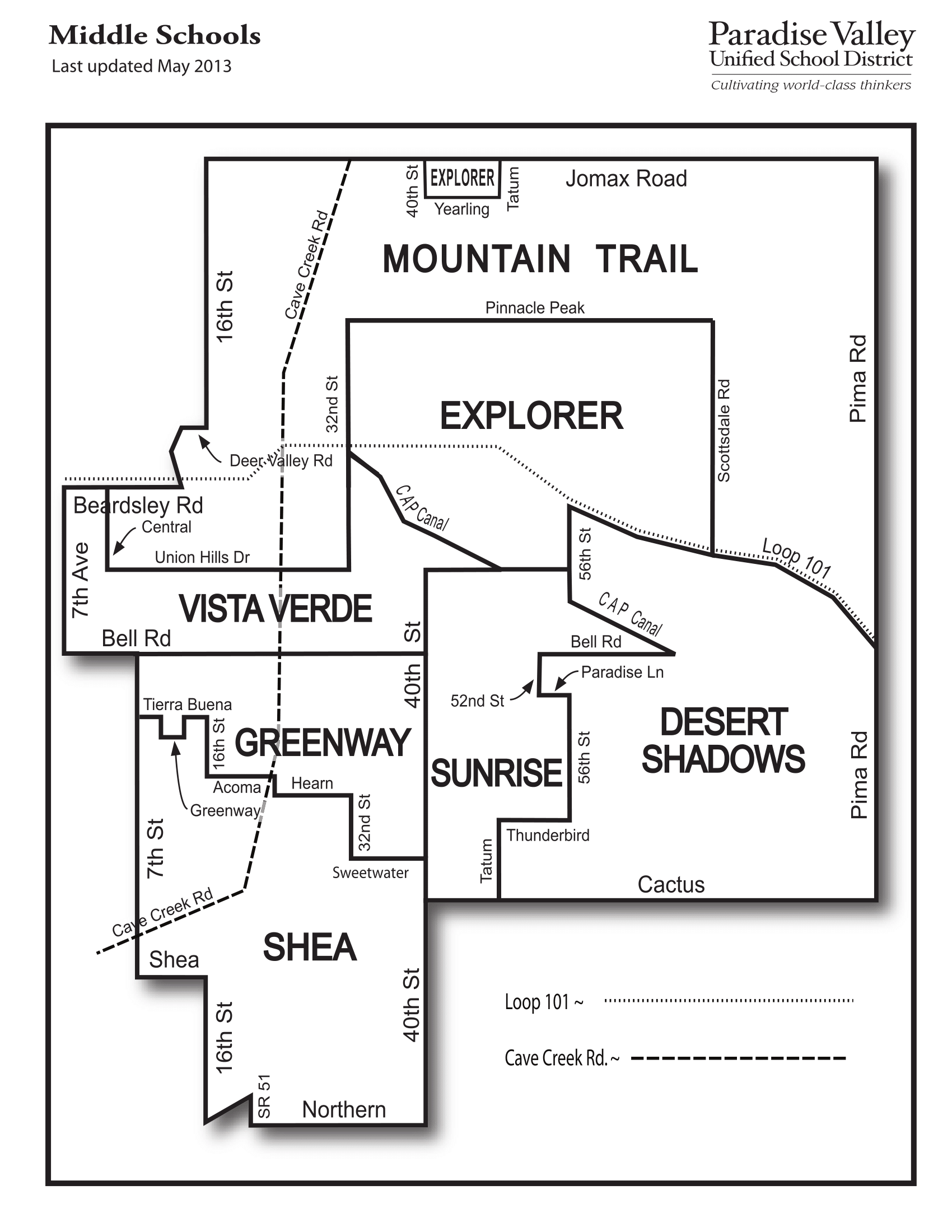 Paradise Valley USD Middle School Boundary Map