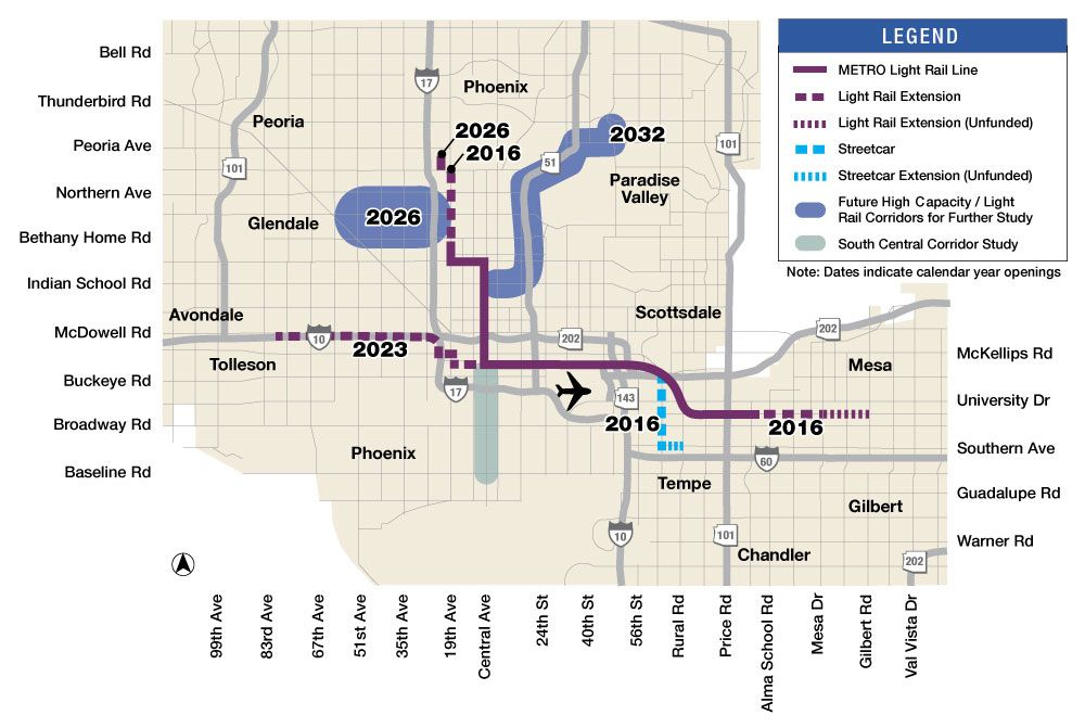 Phoenix Light Rail Network Planned 2019