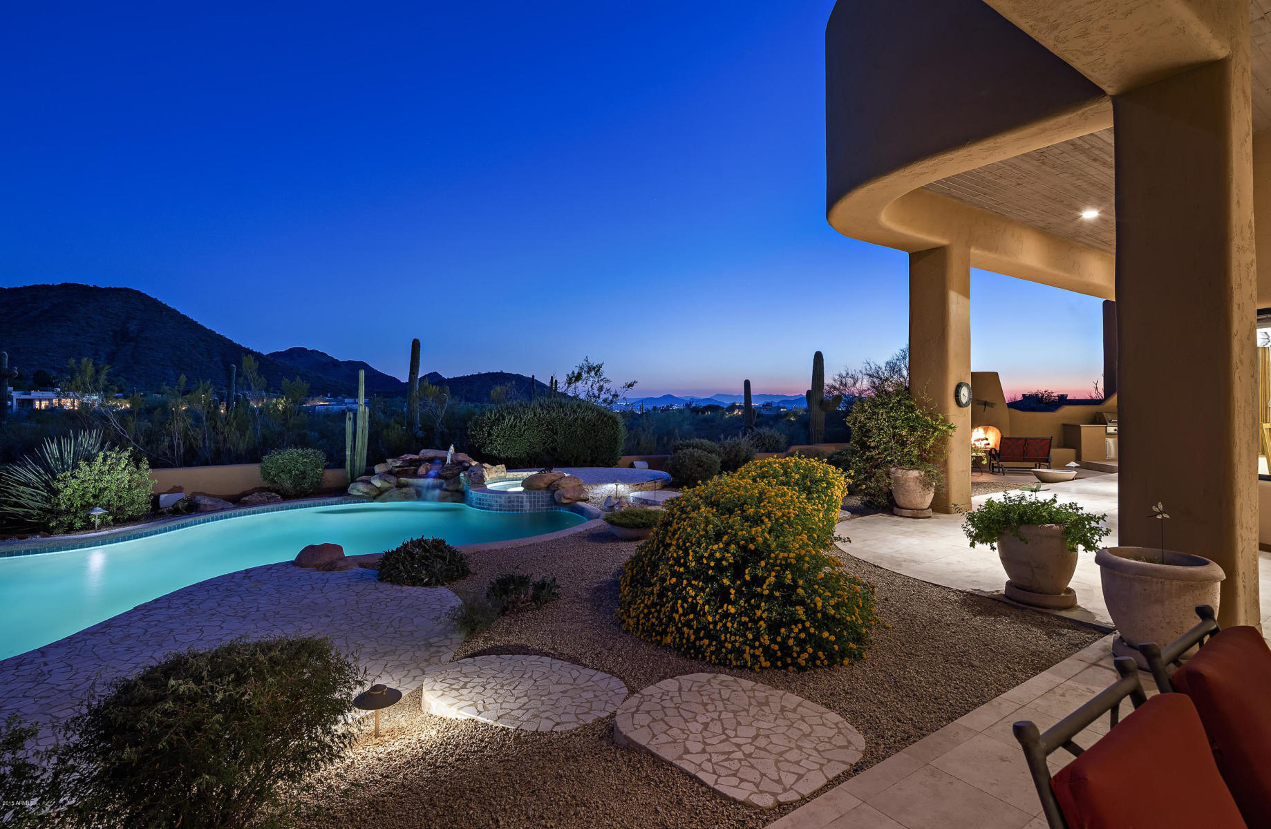 Homes for Sale in Scottsdale AZ.with twilight Mountain Views