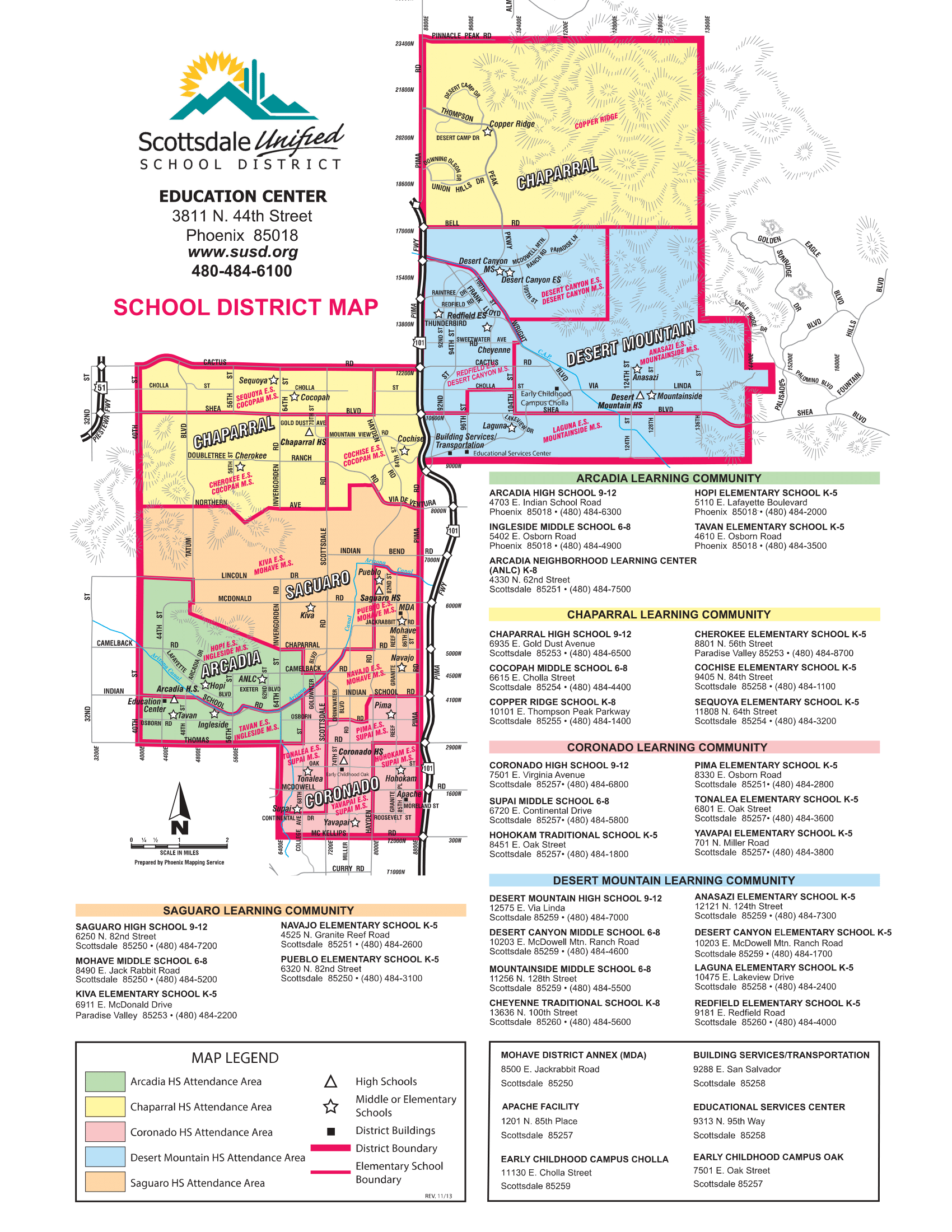 Scottsdale AZ Unified School District 2017 2018 School Boundary Map