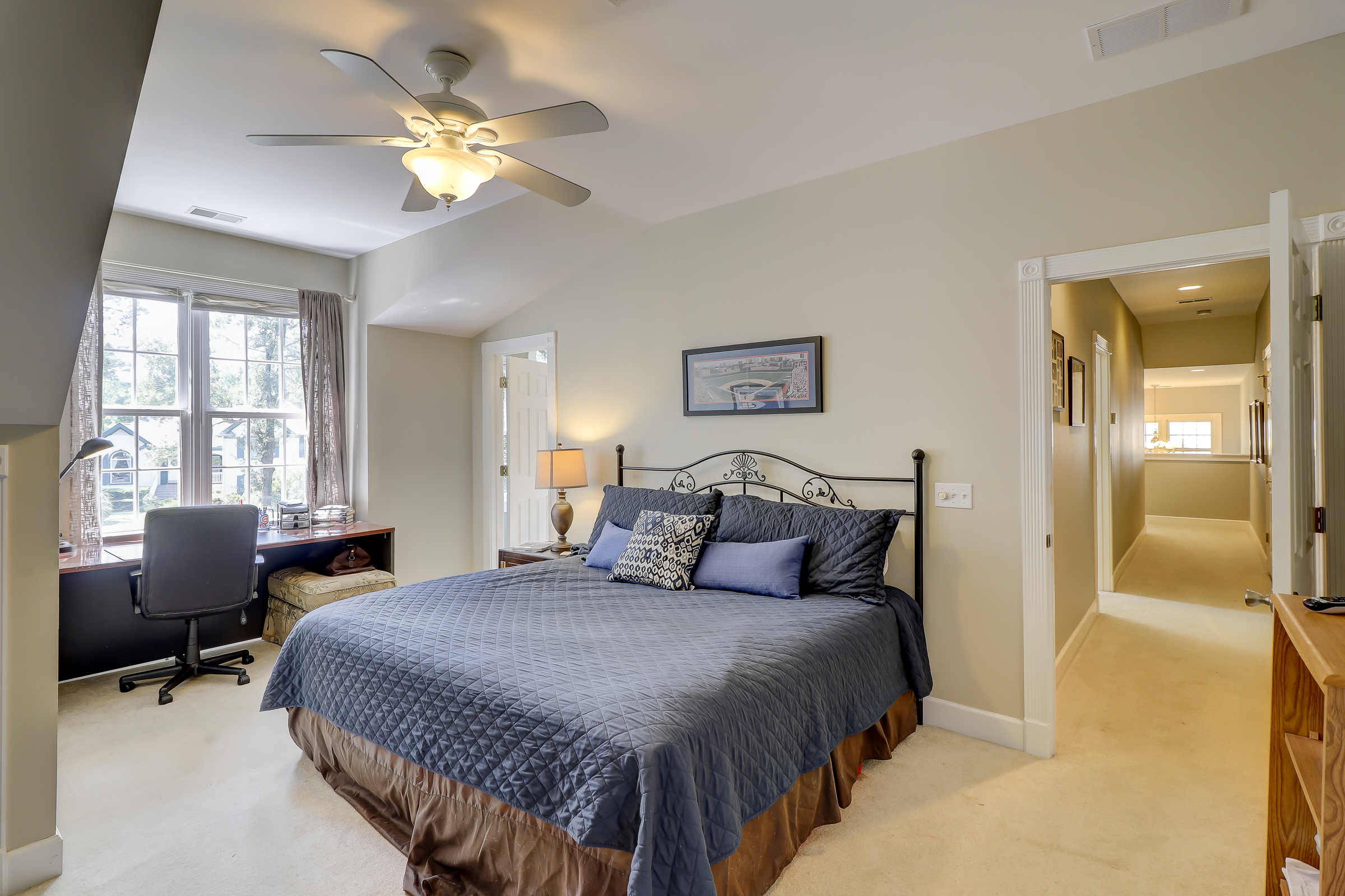 Another spacious bedroom to make all of your guests feel special.  The sloping ceilings add interest to this great space. 314 Fort Howell Dr - Palmetto Hall -  Hilton Head