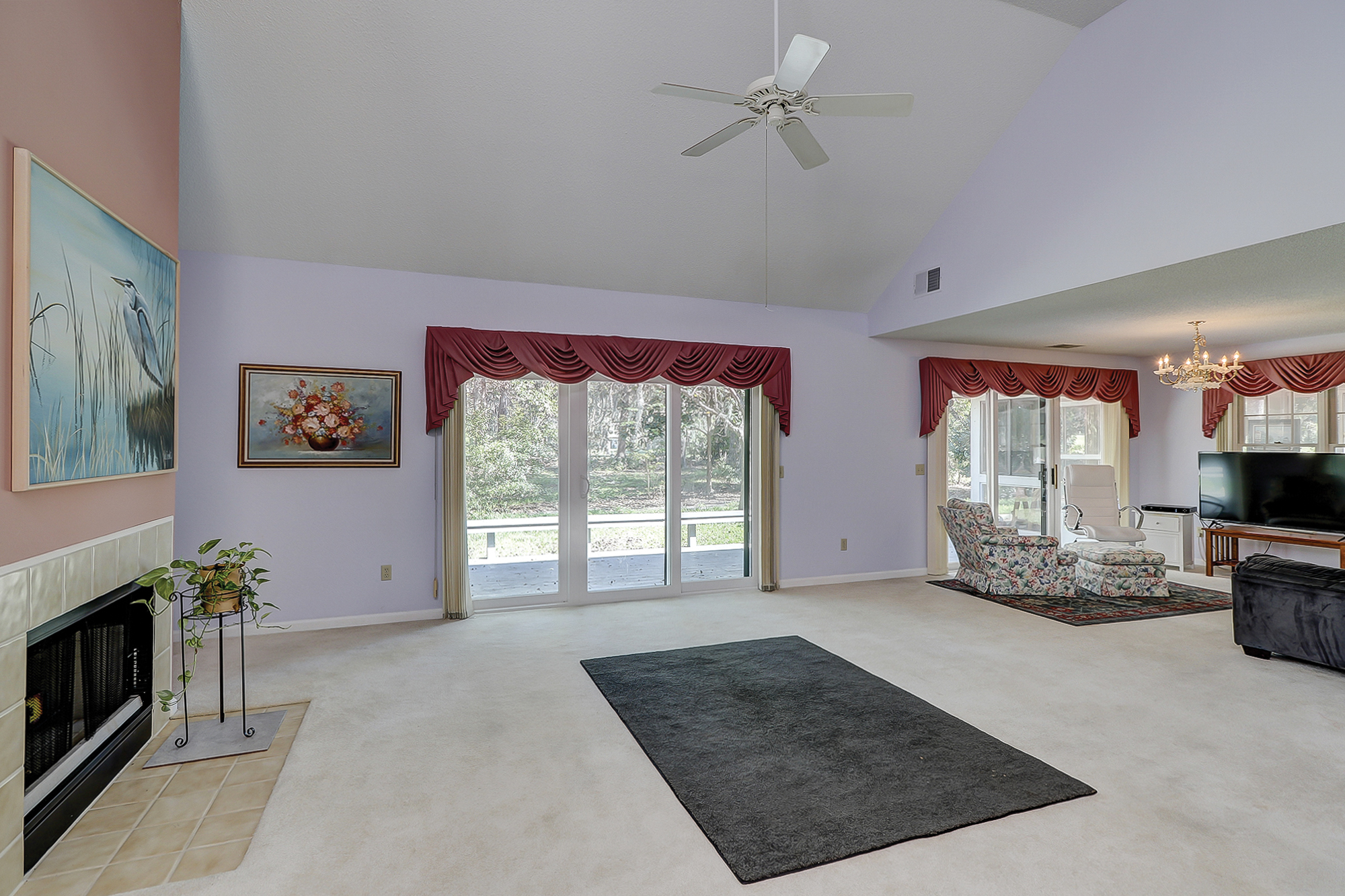 Great Room with Cathedral Ceiling and Lots of Natural Light in this Bluffton SC Home for Sale