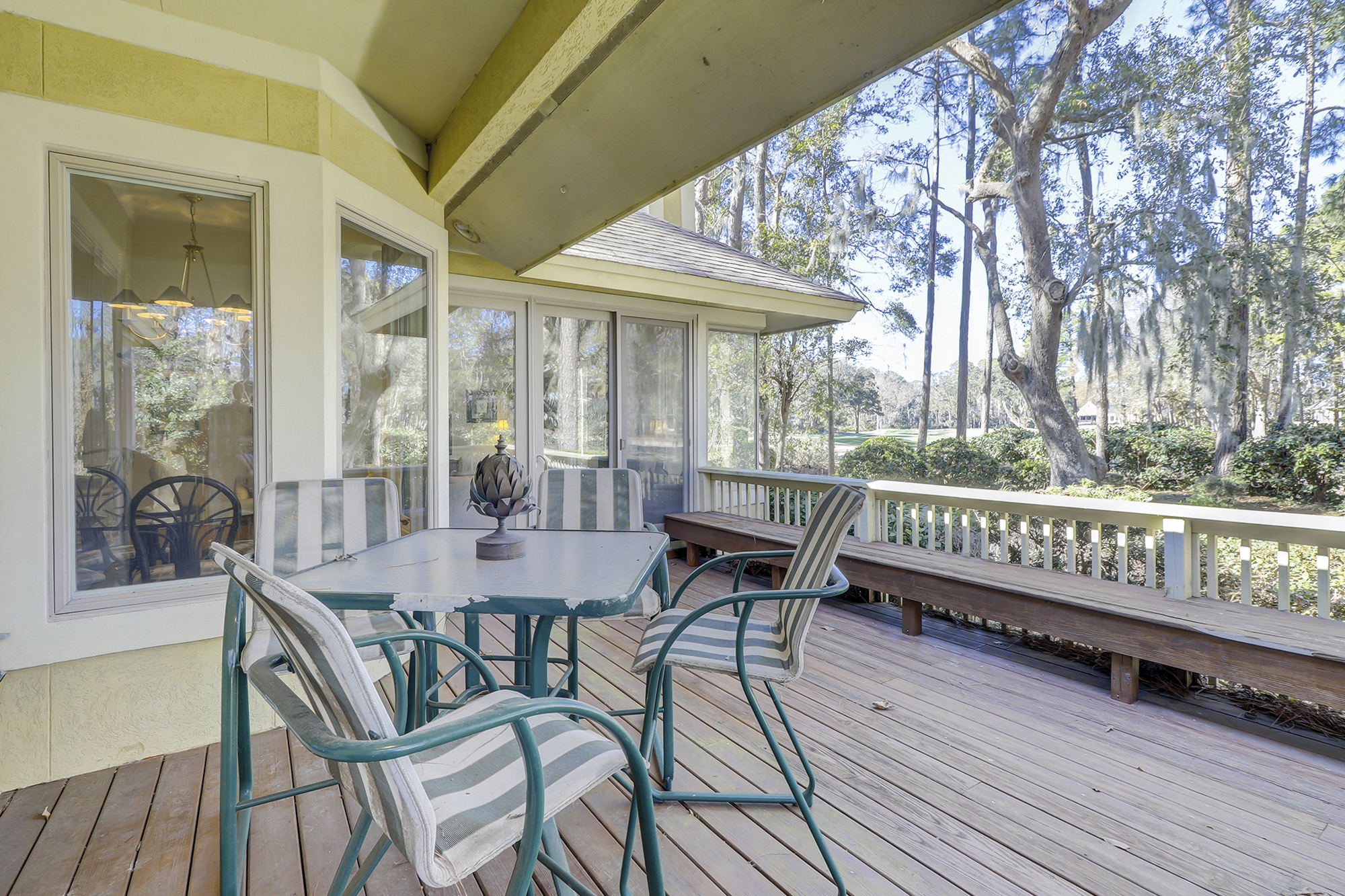 Covered Porch with a golf View on Hilton Head Island, Long Cove