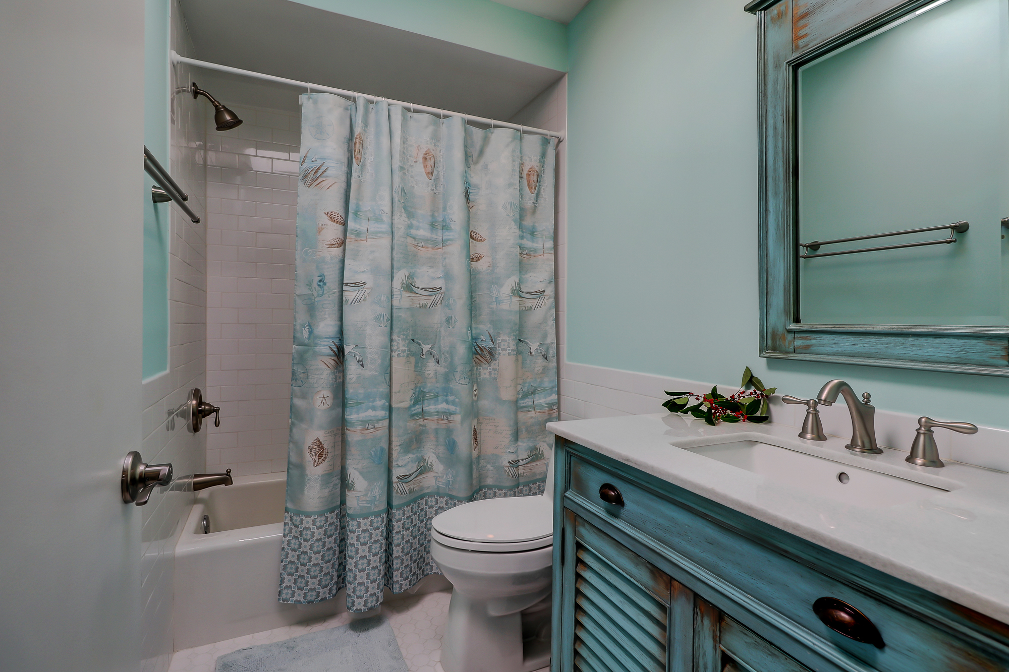 Completely updated/remodeled Guest Bathroom. 8 Bradley Beach, Hilton Head Island, MLS# 388240