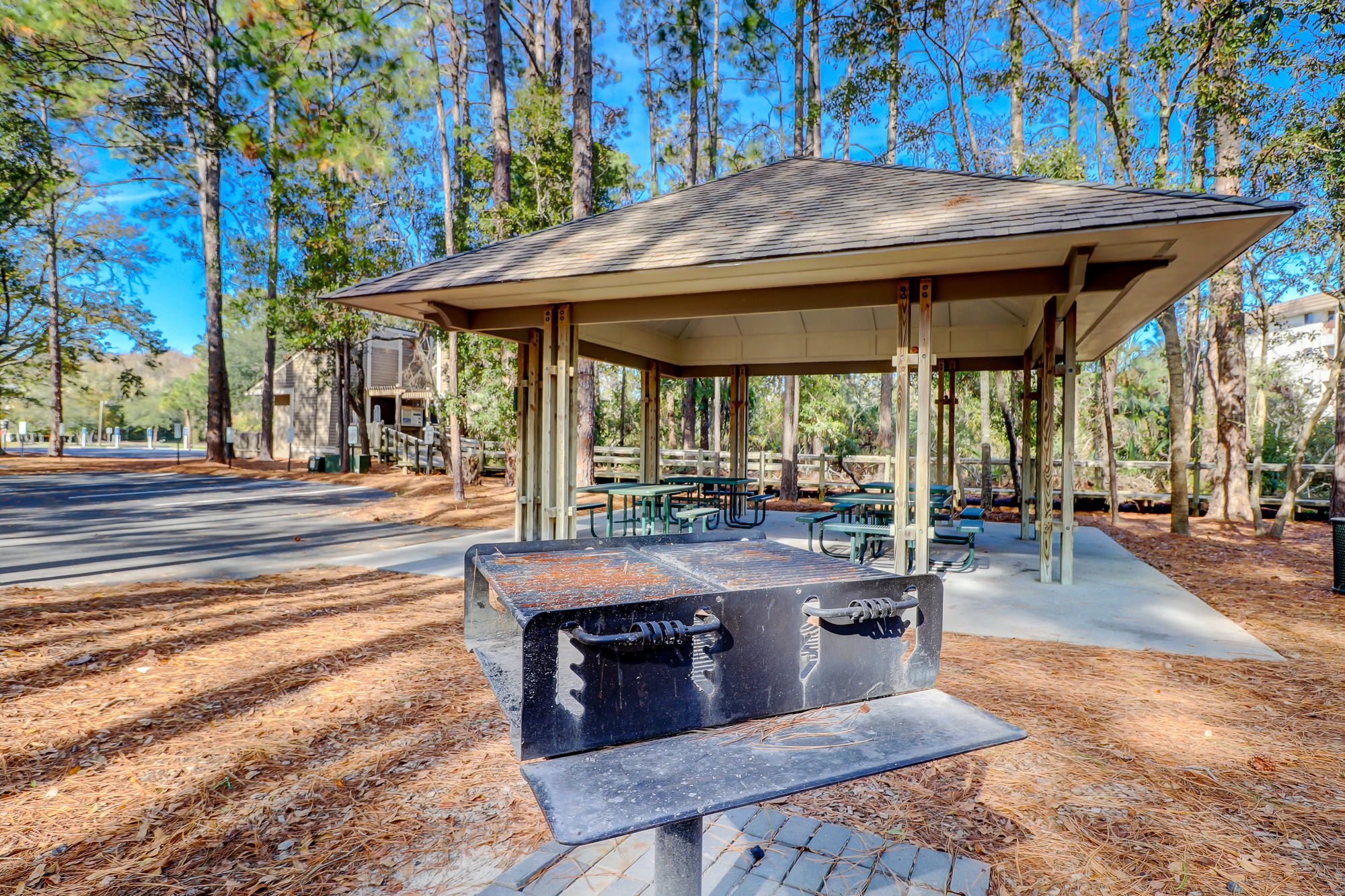 Grills and covered pavilions at Driessen Beach Park.8 Bradley Beach, Hilton Head Island, MLS# 388240