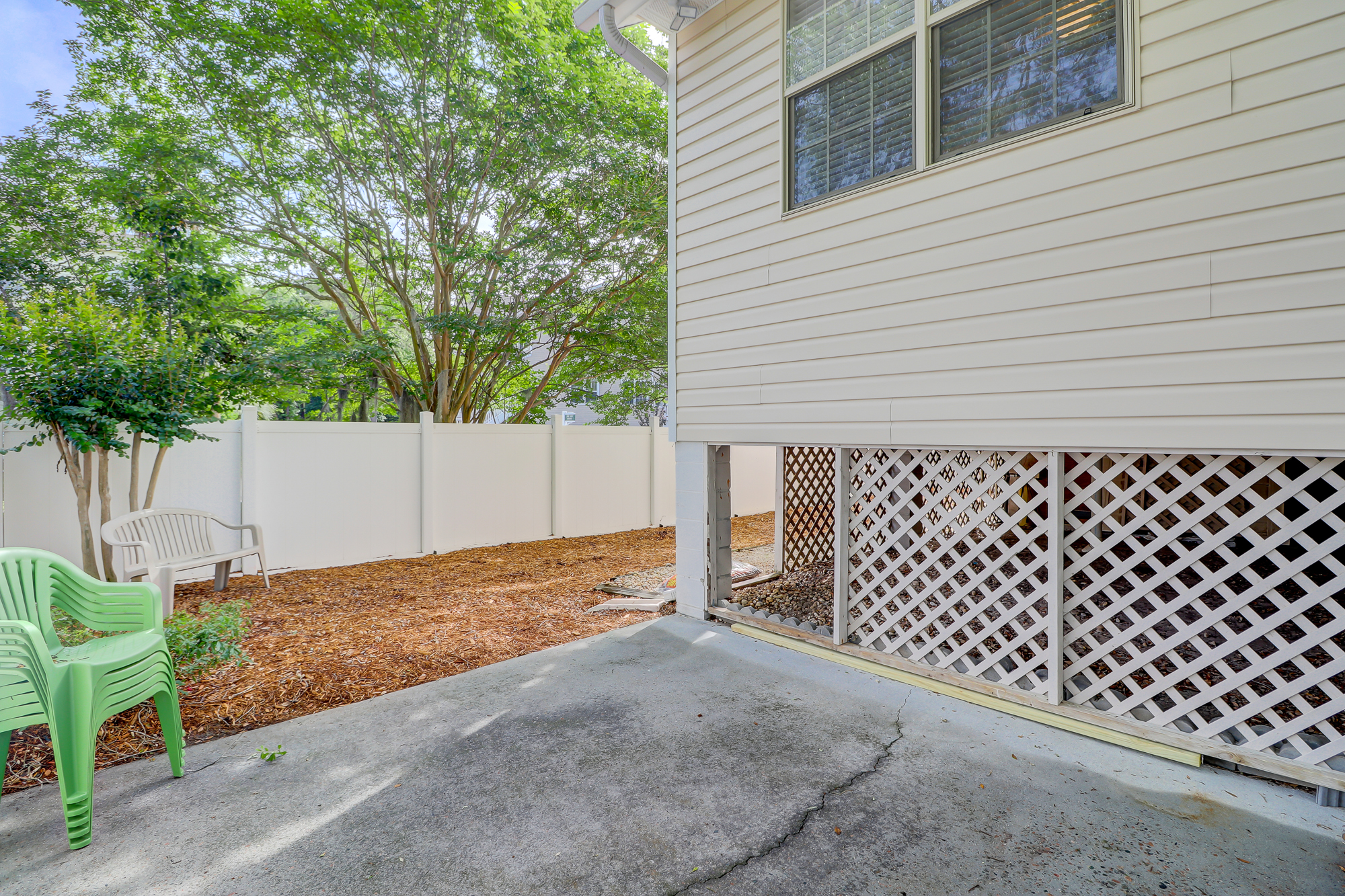 Privacy Fenced in Side Yard in Yacht Cove 2 Mulberry Court Hilton Head Island