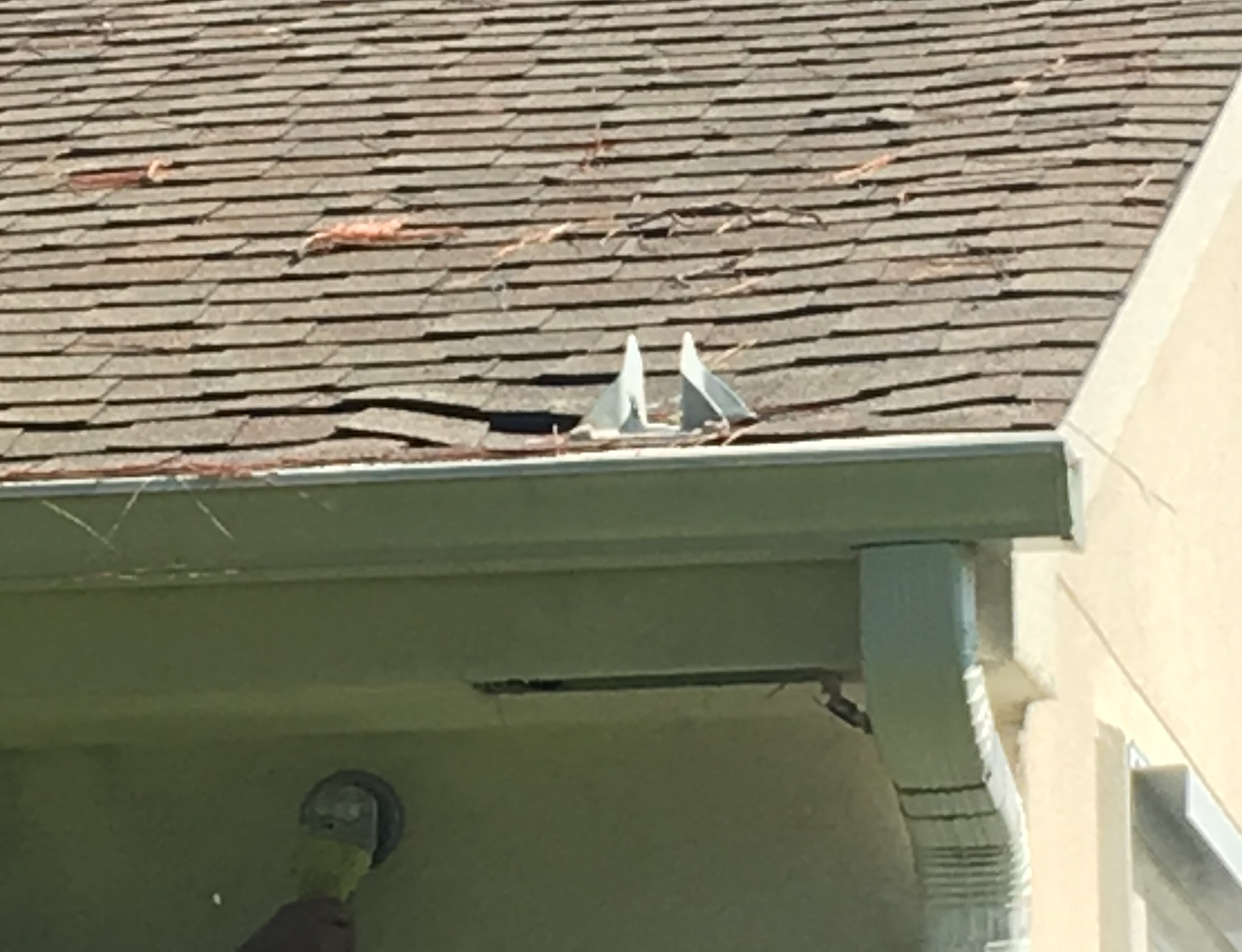 This satellite bracket is installed like many others in Sun City but take a closer look. Do you see the sage in the roof? That is water damage.