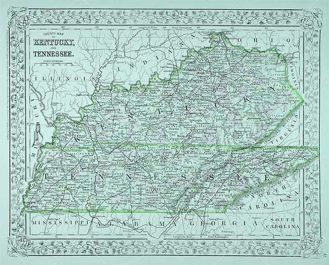 Tennessee and Kentucky Counties Map