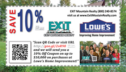 Save 10% from Lowe's Home Improvement - A Gift from EXIT Mountain Realty