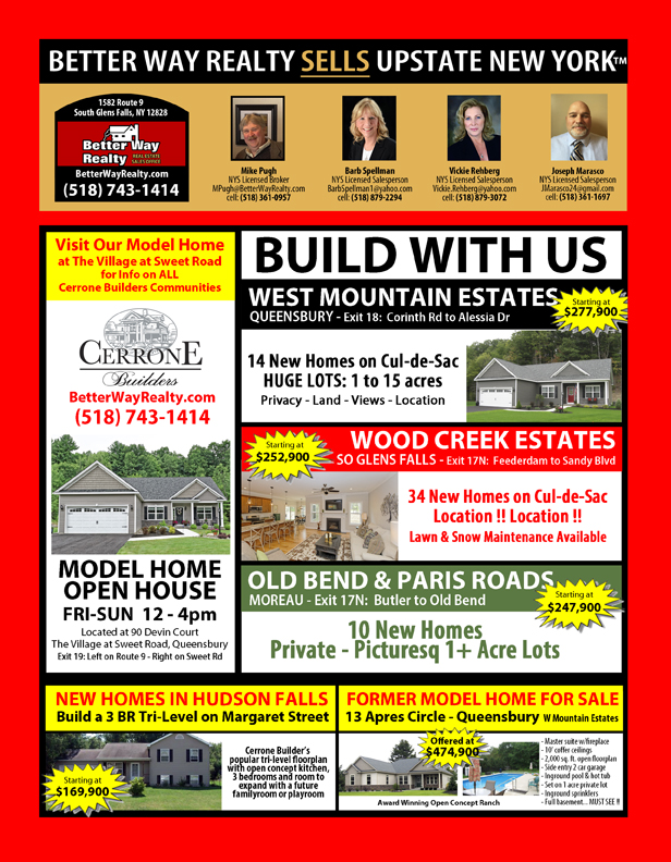 Build with us in Queensbury - South Glens Falls & Moreau - Better Way Realty