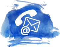 White Phone and Email Symbols with Blue Watercolor Backdrop