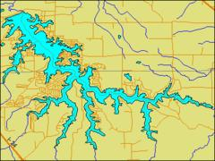 Map - the lake's irregular shape reveals its origins as a dammed river among hilly terrain.