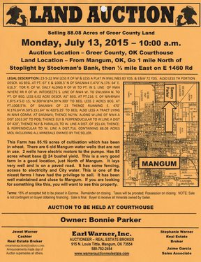 FARM LAND 88.08 : AUCTION JULY 13TH, 2015  FROM MANGUM GO 1 MILE NORTH OF STOPLIGHT ON 283 IN MANG