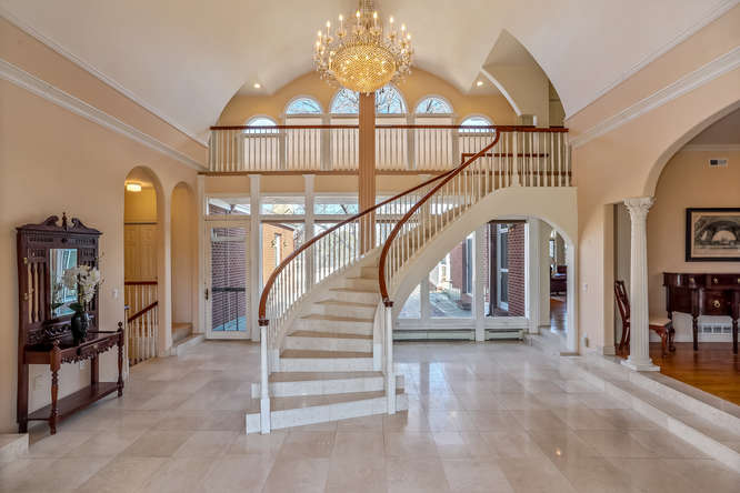 Staircase & foyer, 10 Sunrise Drive, Englewood - listed with Friedman Realty Associates