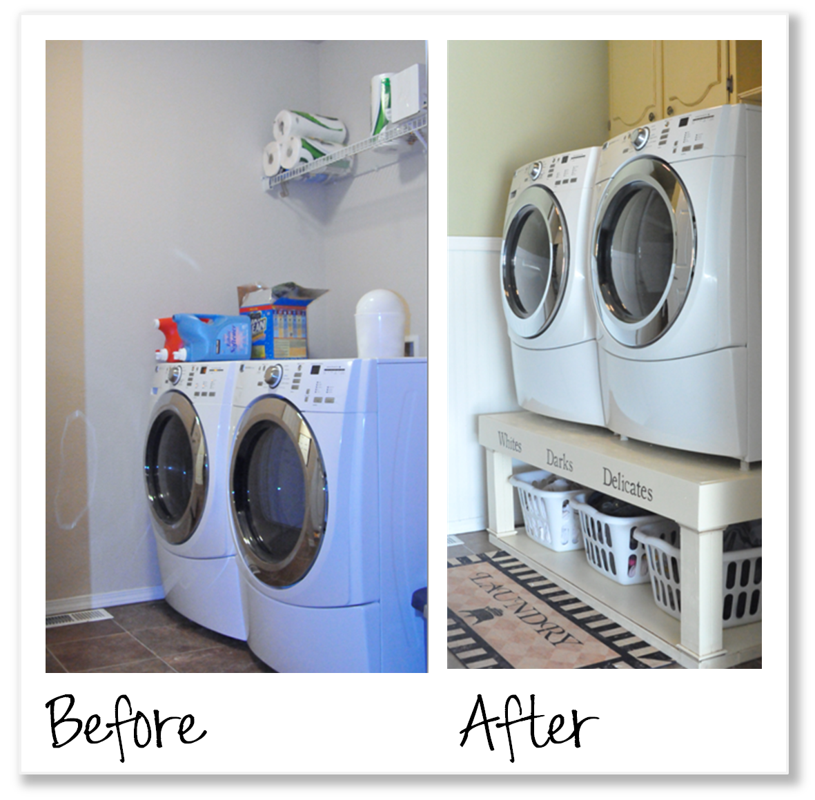 Countertop Remodeled Laundry Room via Hometalker Karen