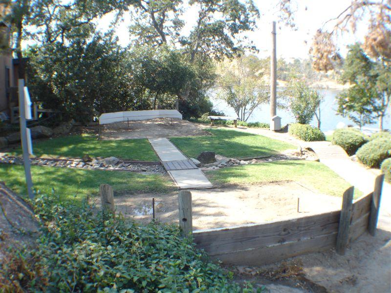 Beautiful park overlooking lake