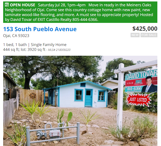 Just Listed Open House Meiners Oaks Neighborhood 153 S Pueblo Ave In Ojai Ca Property Search Module Offered By David Tovar With Exit Castillo Realty Your Local Real Estate Professional In