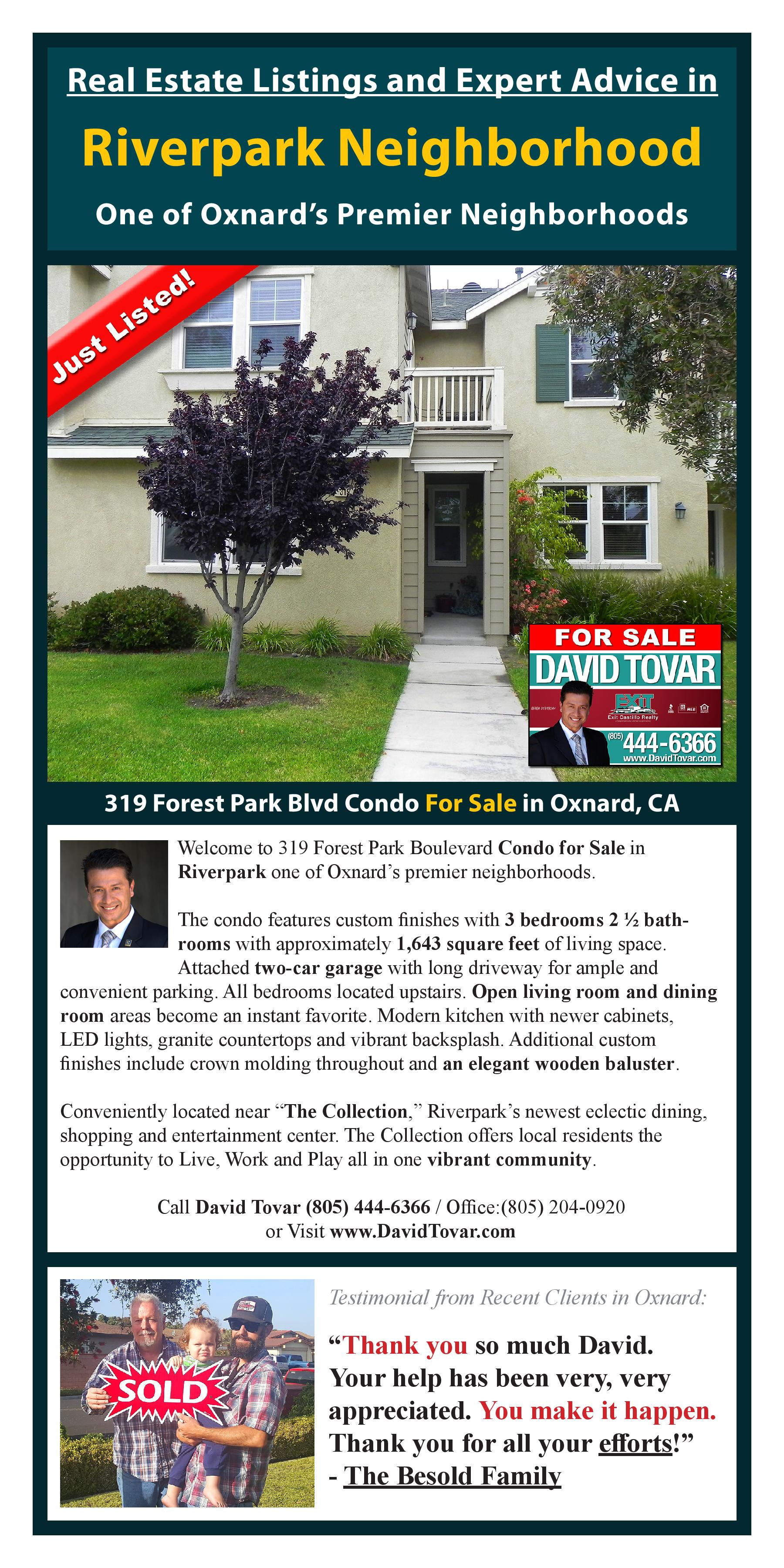 Just Listed 319 Forest Park Blvd Oxnard CA Direct Response Marketing