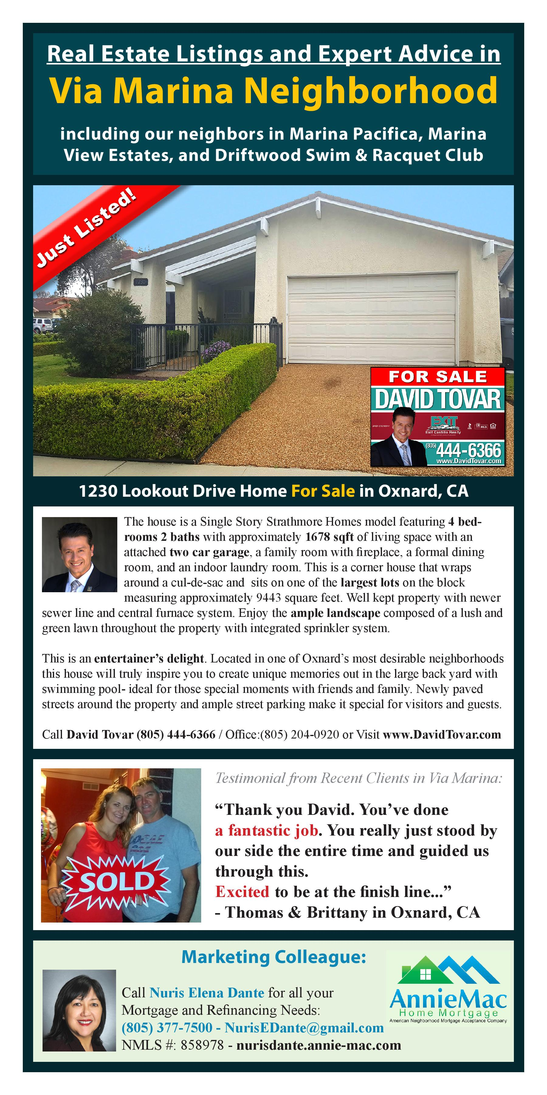Just Listed 1230 Lookout Dr Home for Sale in Oxnard by David Tovar Realtor
