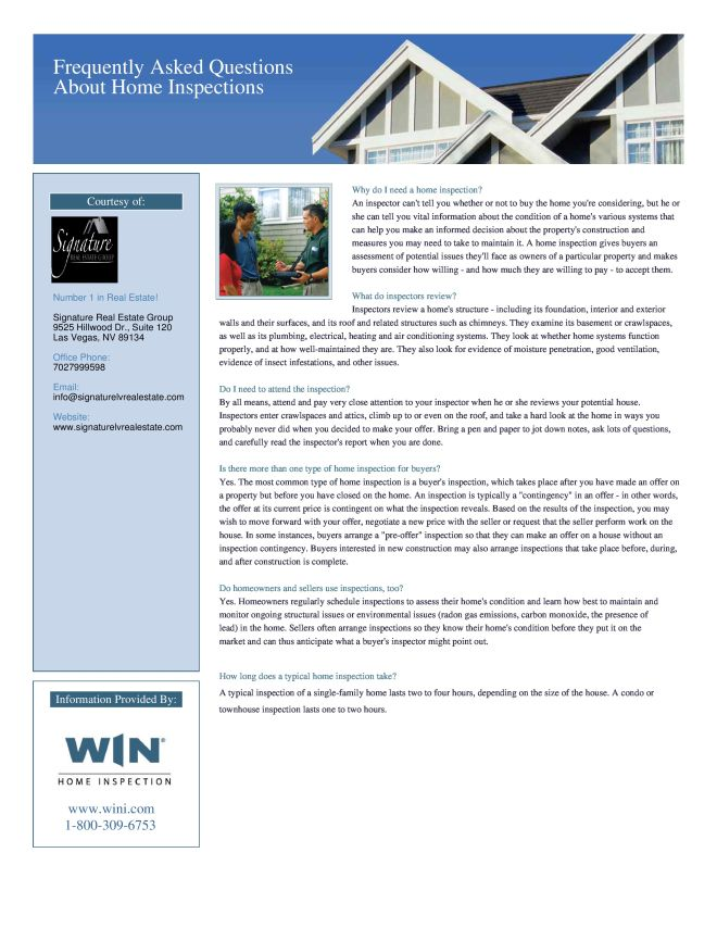 Home Inspection FAQ Las Vegas