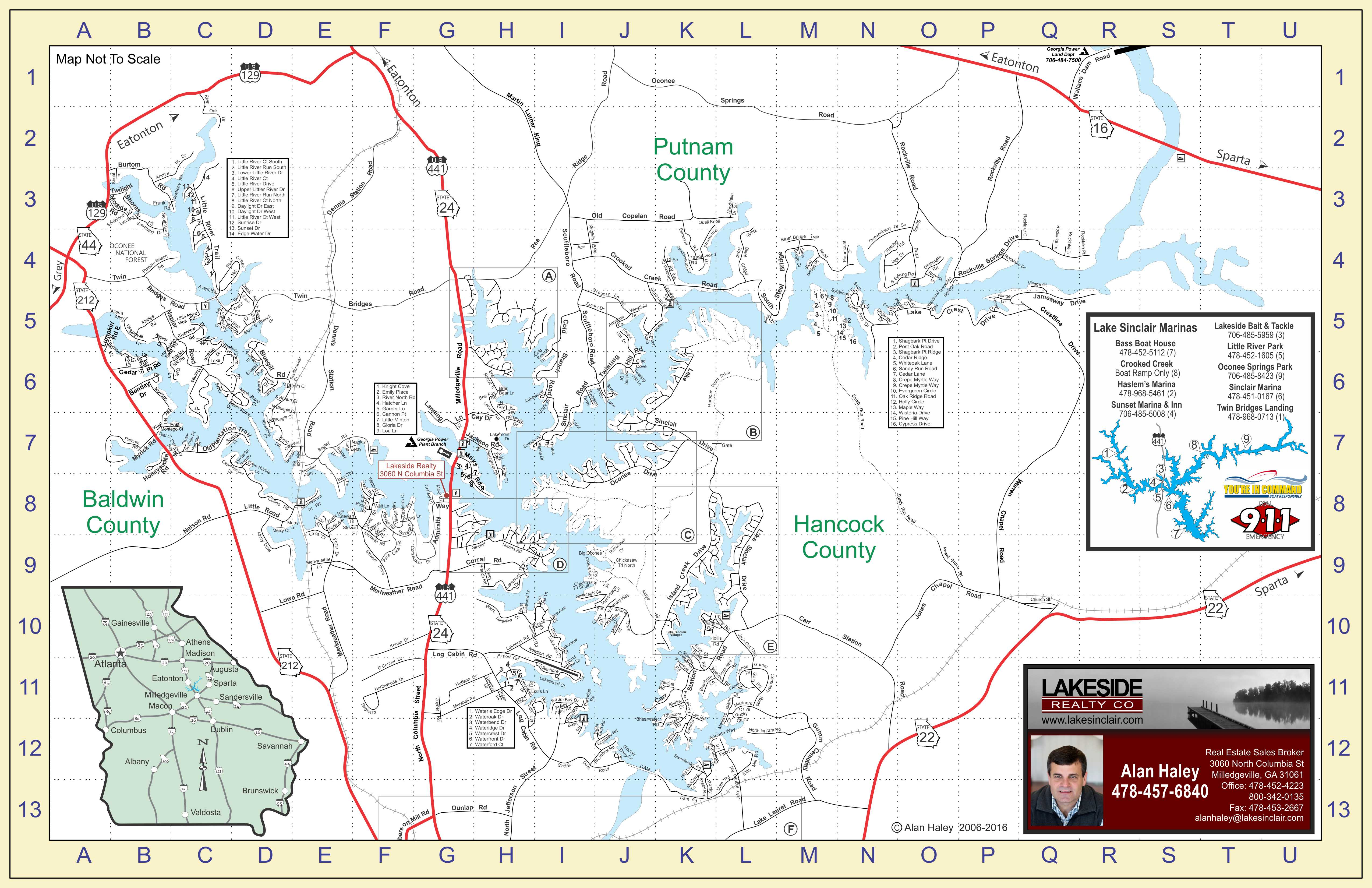 Lake Sinclair Map Lake Sinclair Homes Lots For Sale Search - Georgia map milledgeville
