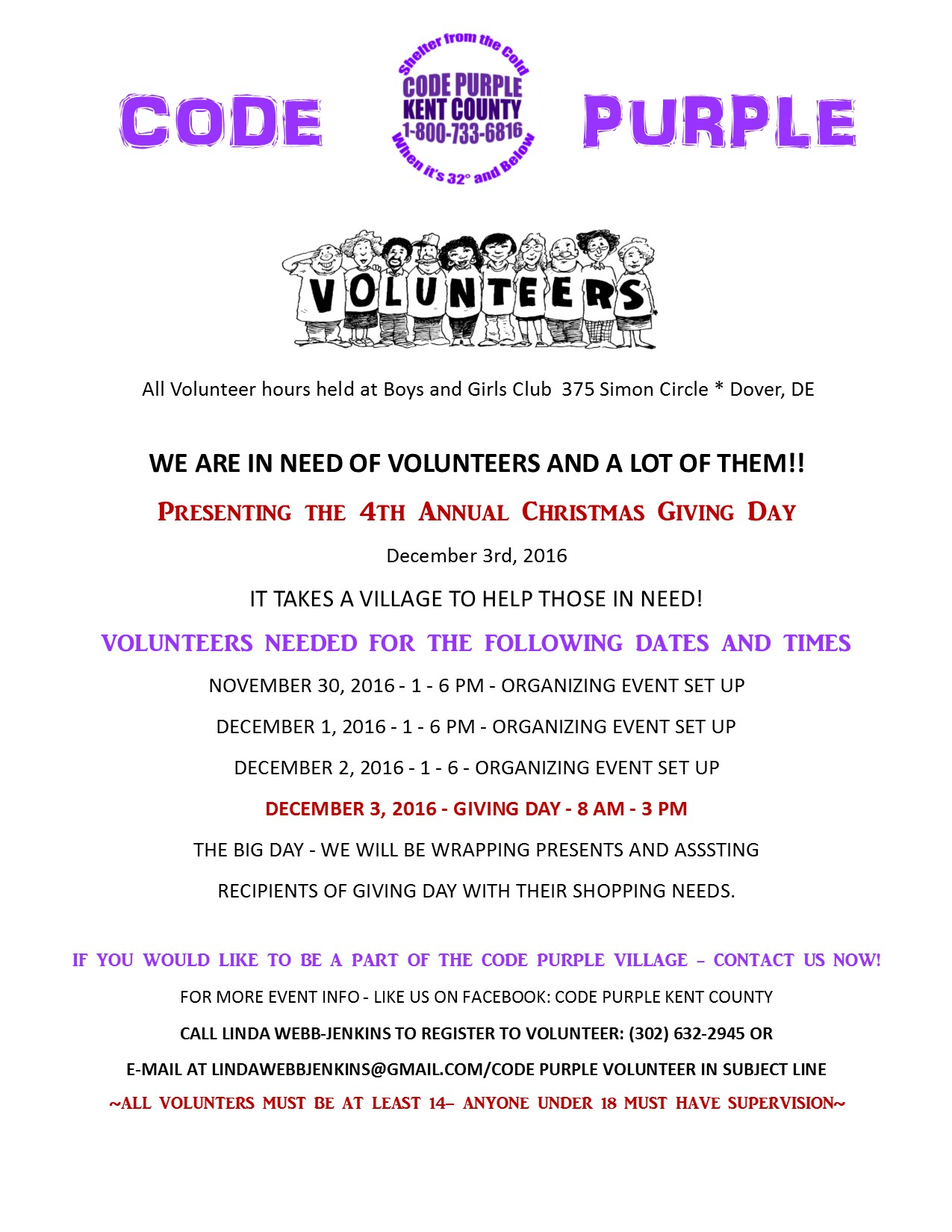 Delaware kent county viola - Code Purple Call To Action