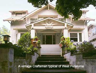A vintage Craftsman typical of West Petaluma