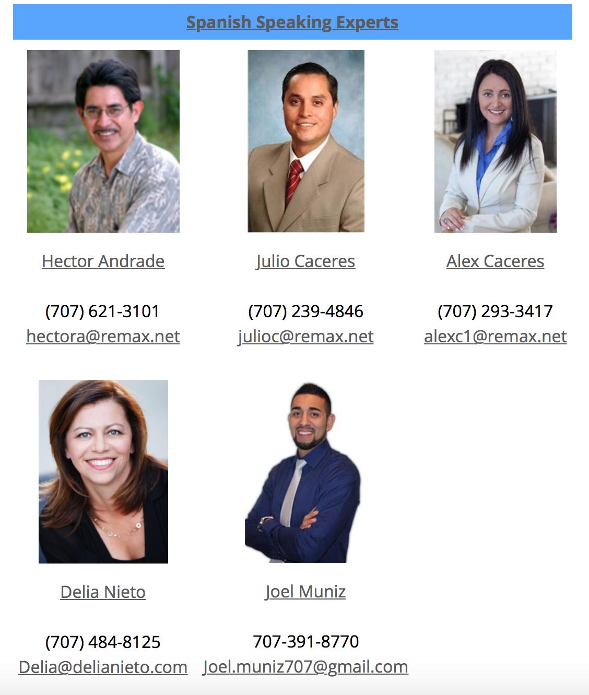 Nuestros Agentes Inmobiliarios de habla hispana