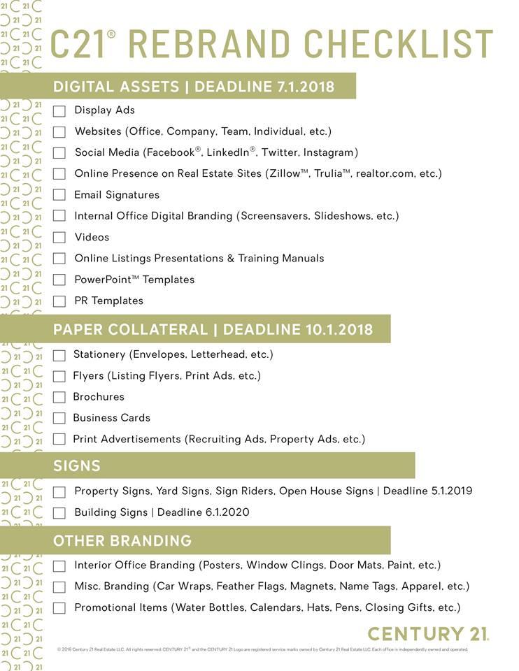 CENTURY 21 Simpson - C21 Rebranding Checklist