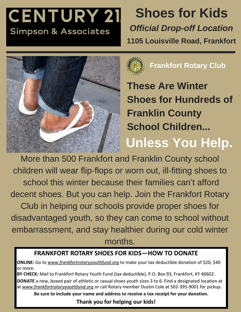 CENTURY 21 Simpson & Associates is an official drop-off location for the Frankfort Rotary Club Shoes for Kids Campaign.