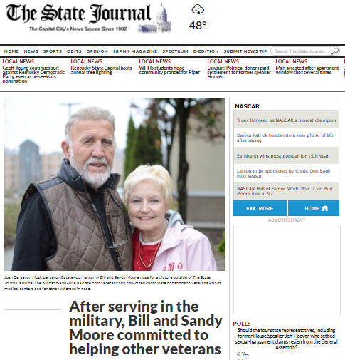 Bill & Sandy Moore - The State Journal - Helping Veterans