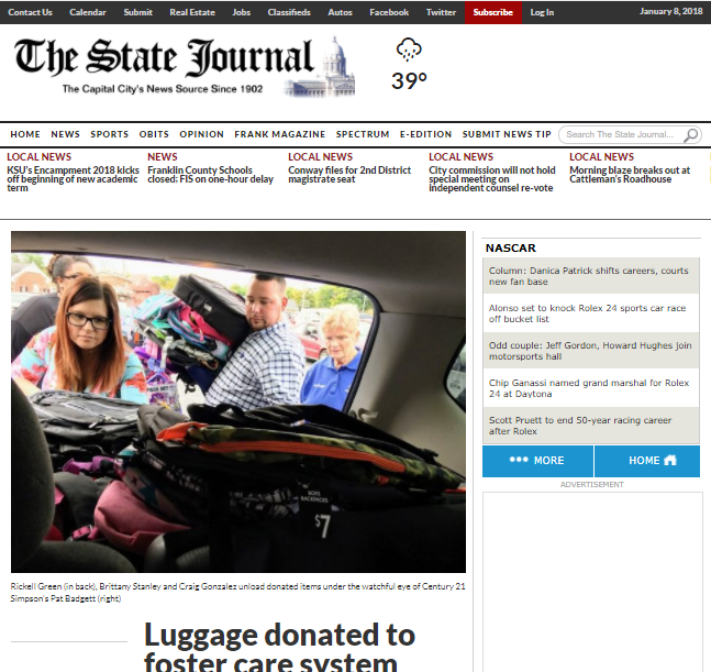 Century 21 Simpson & Associates - The State Journal - Foster Care Luggage Donation