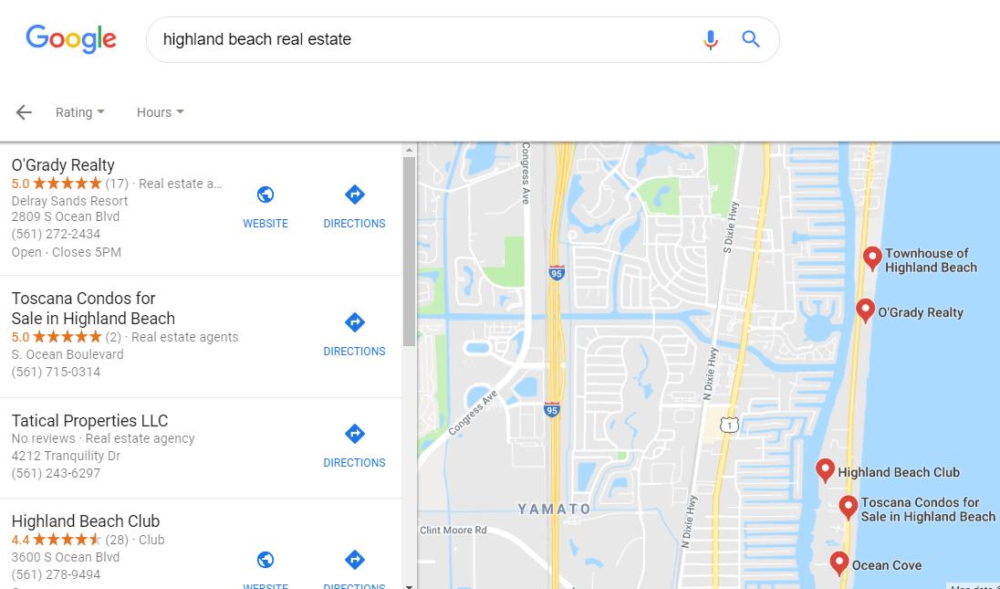O'Grady location on google search