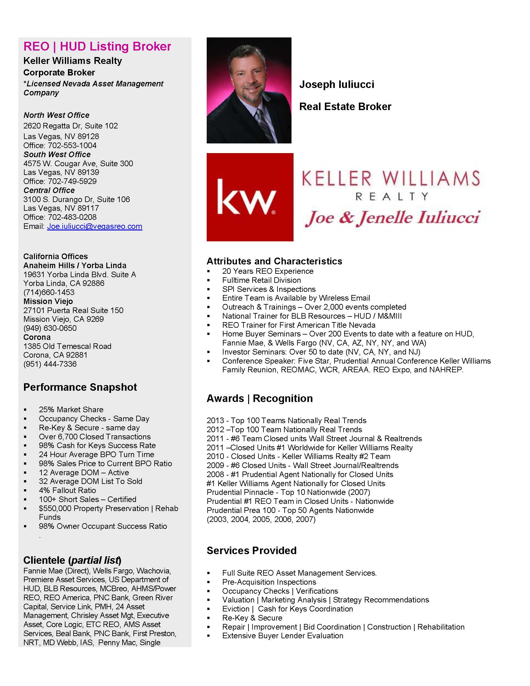 resume profile las vegas reo services search for bank owned