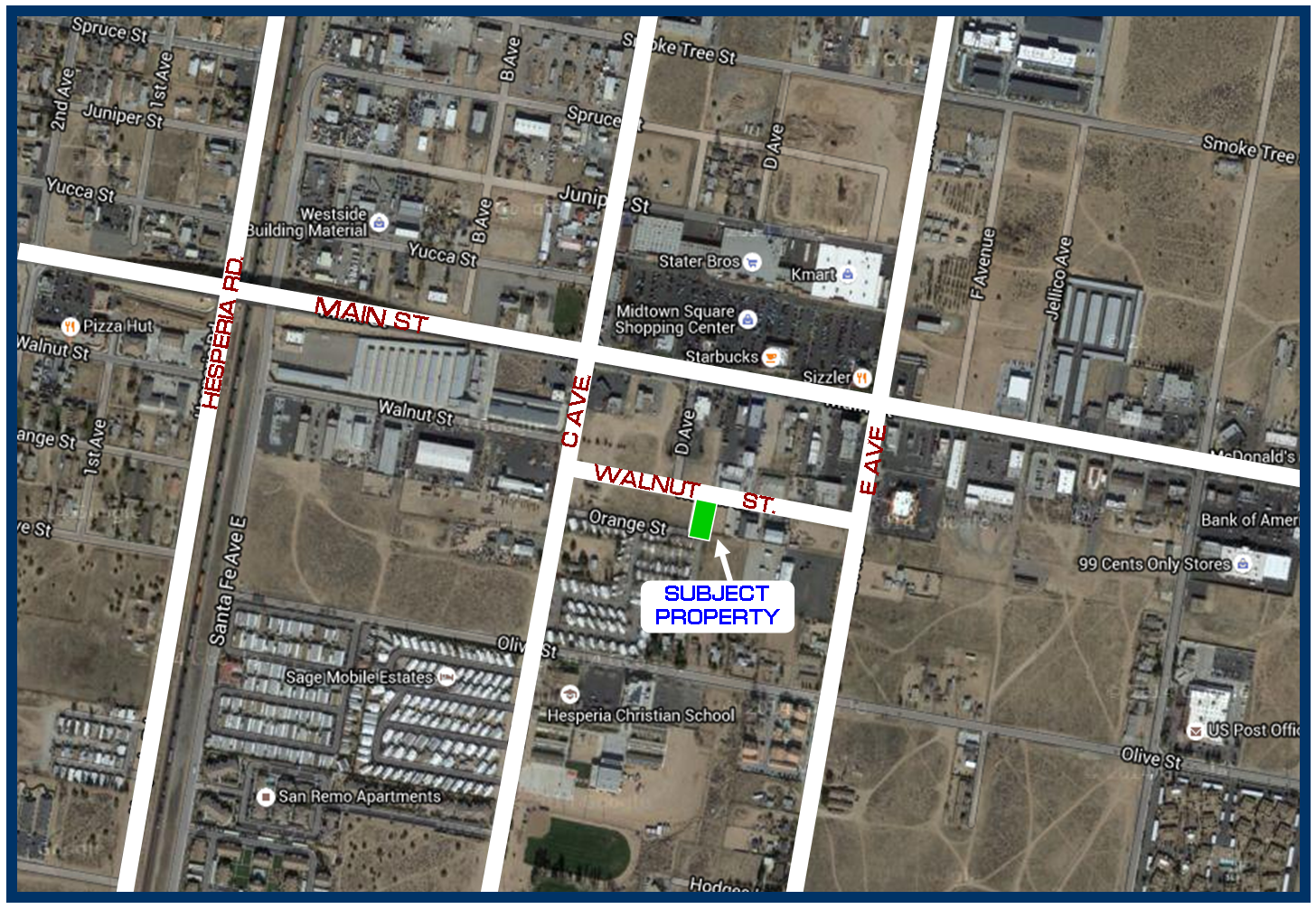 Commercial Lot For Sale On Walnut St In Hesperia CA - Map of usa for sale