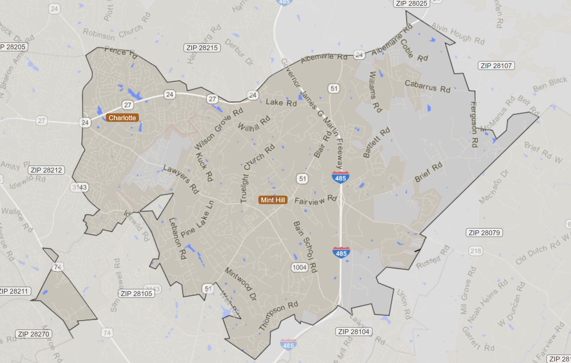 28227 Zip Code In Charlotte/Mint Hill Map