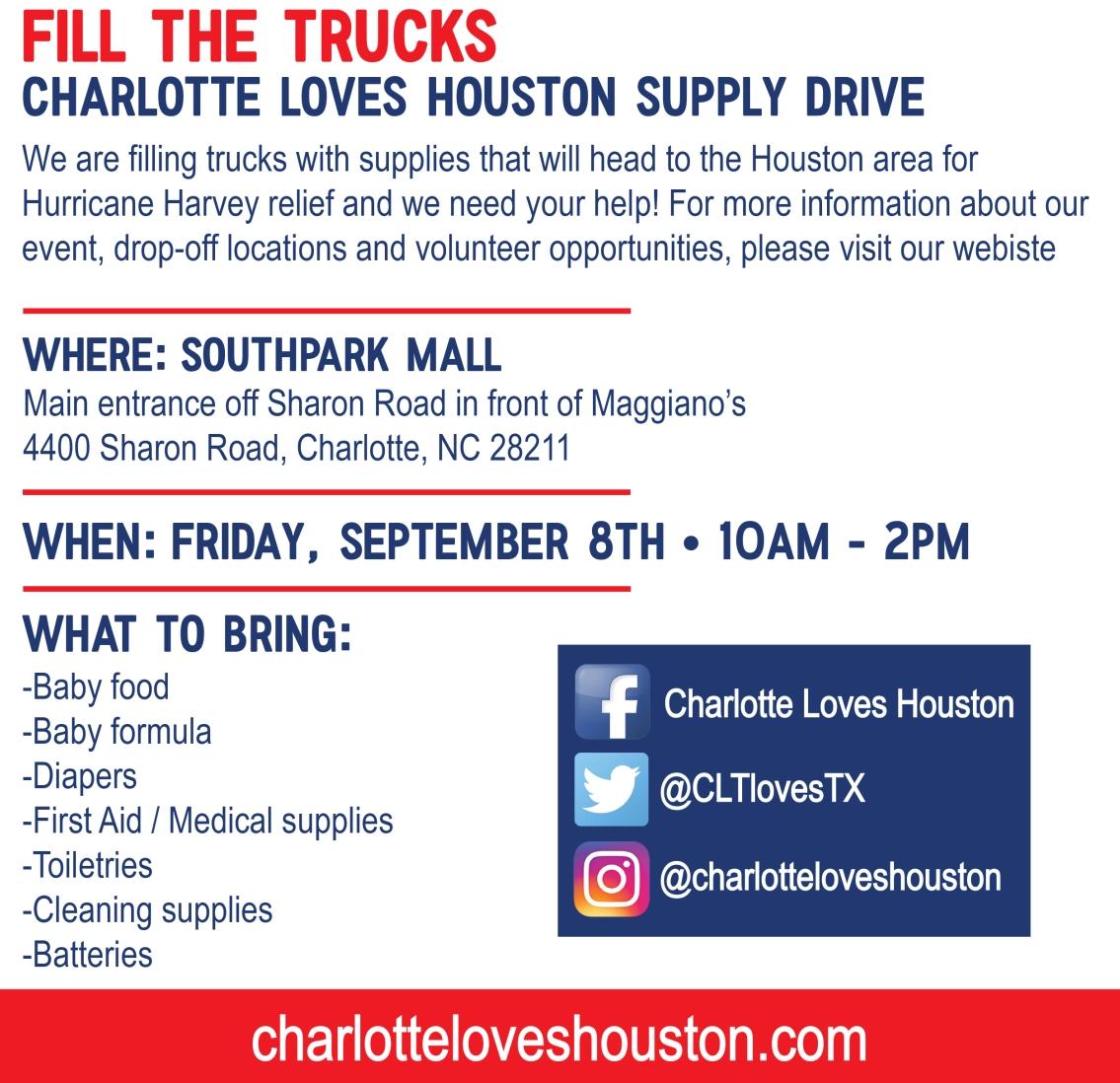 Charlotte Loves Houston Fill The Trucks Supply Drive