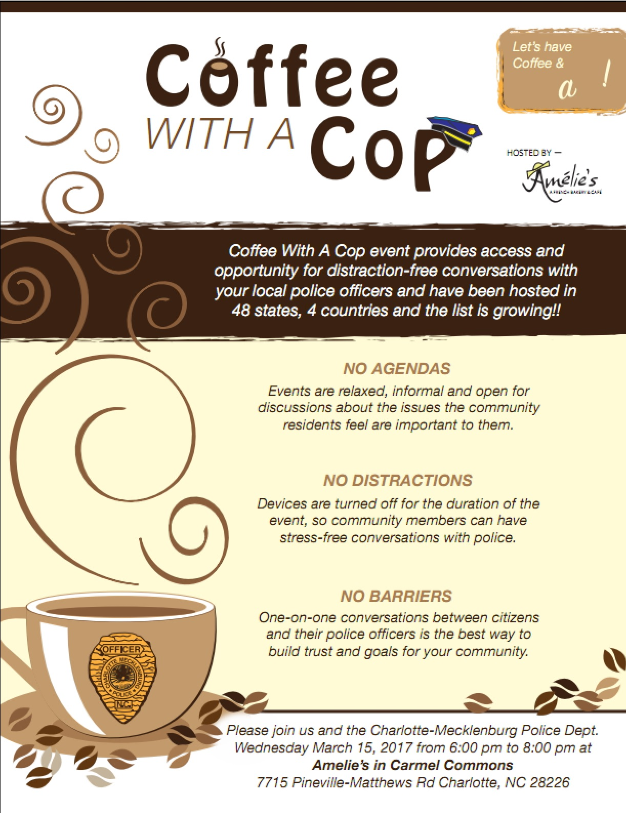 Coffee With A Cop In South Charlotte March 15th