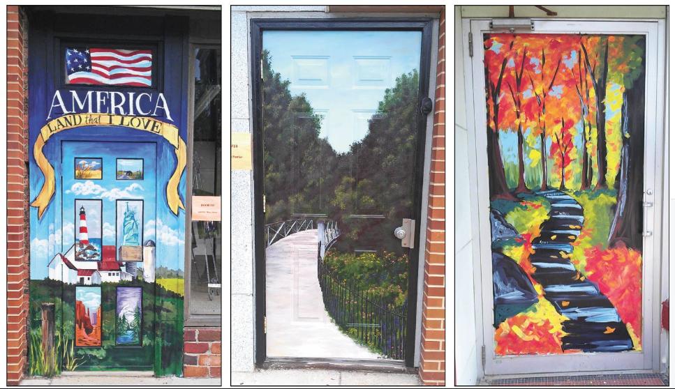 The top three winners of the door art.