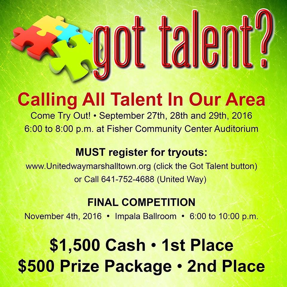Got Talent fundraiser auditions are Sept. 27