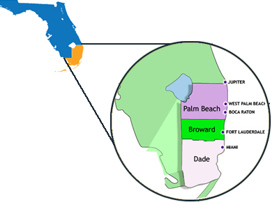 Map of Broward Dade Palm Beach County Homes