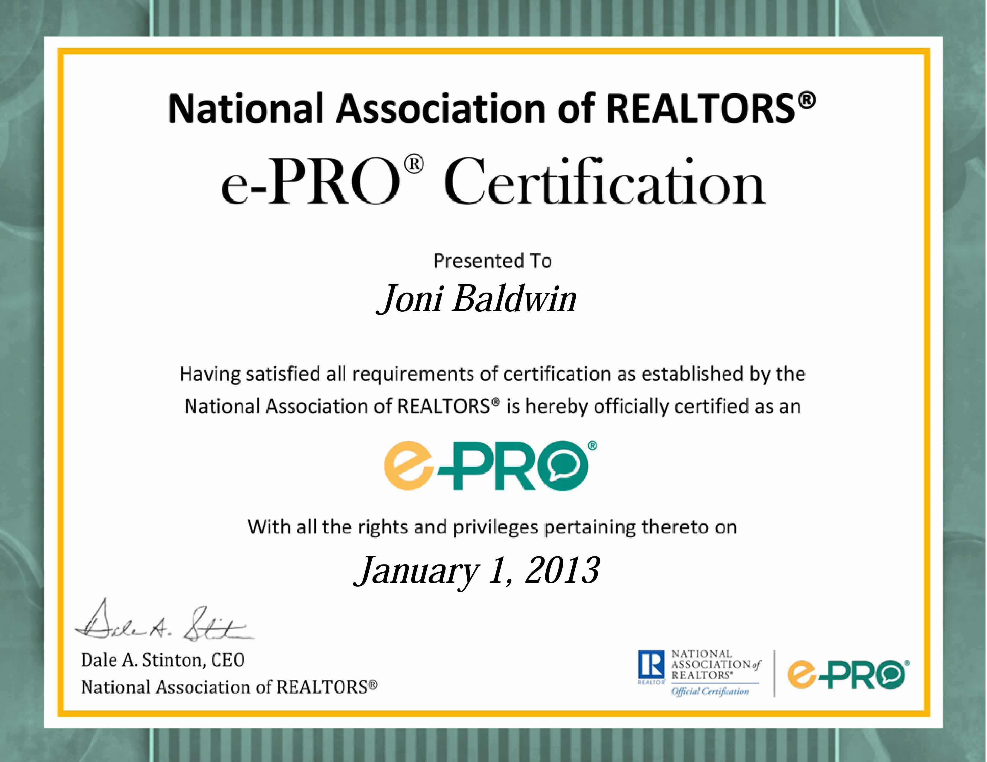 Joni Baldwin e-Pro® certificate