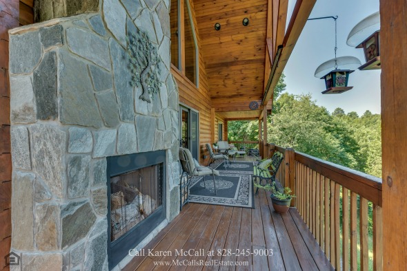 Yellowtop Mountain Estates NC Real Estate Properties for Sale - Relax and entertain on the spacious veranda of this Yellowtop Mountain home for sale.