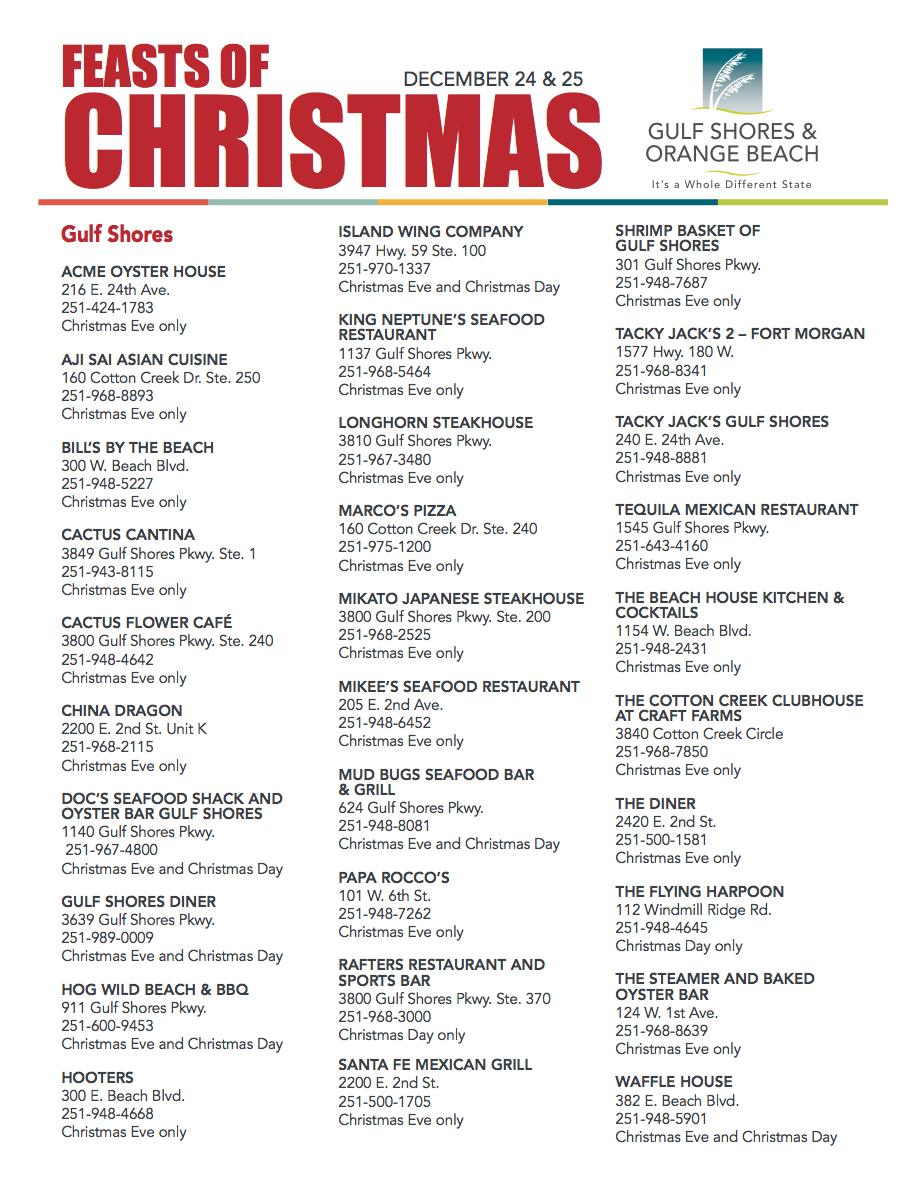 Alabama Coastal Restaurants Open During Christmas Holidays