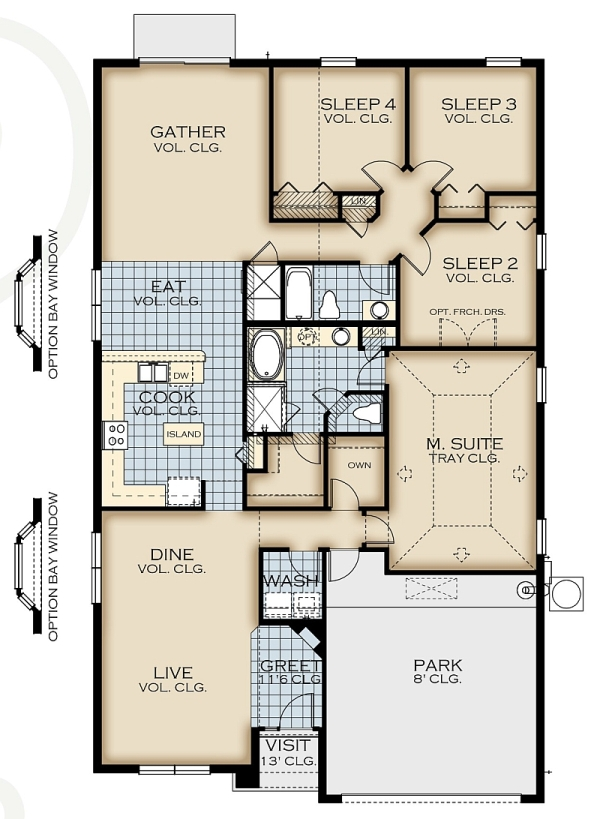 Watersong queen palm floor plan new construction homes for Houses for sale with floor plans