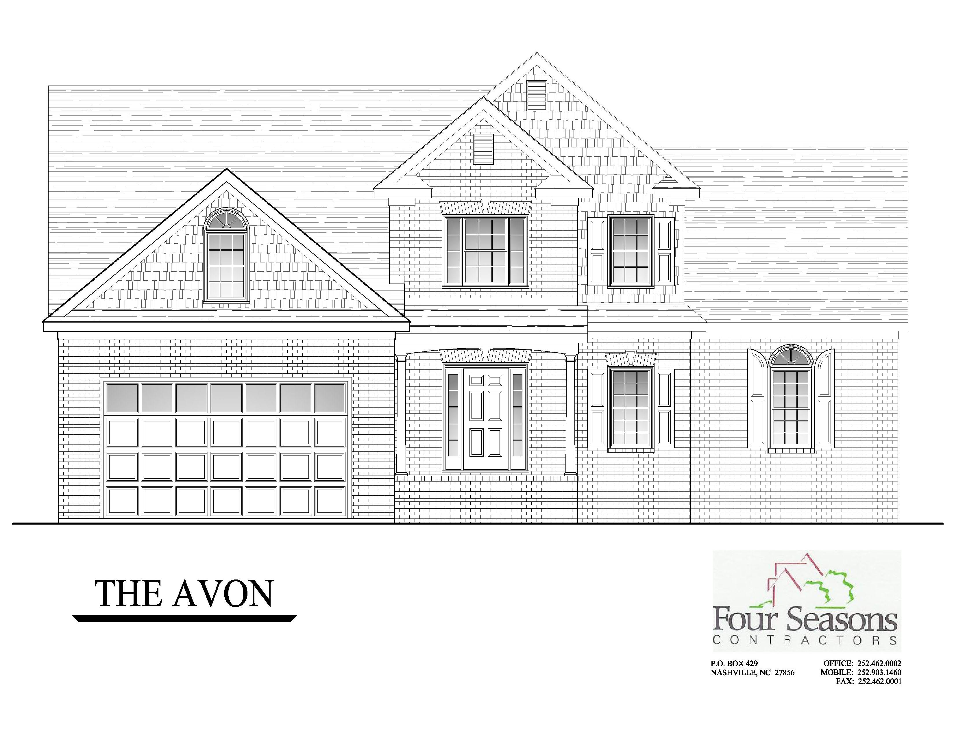 Avon Front Elevation four seasons contractors homes for sale new construction,New Home Construction Floor Plans