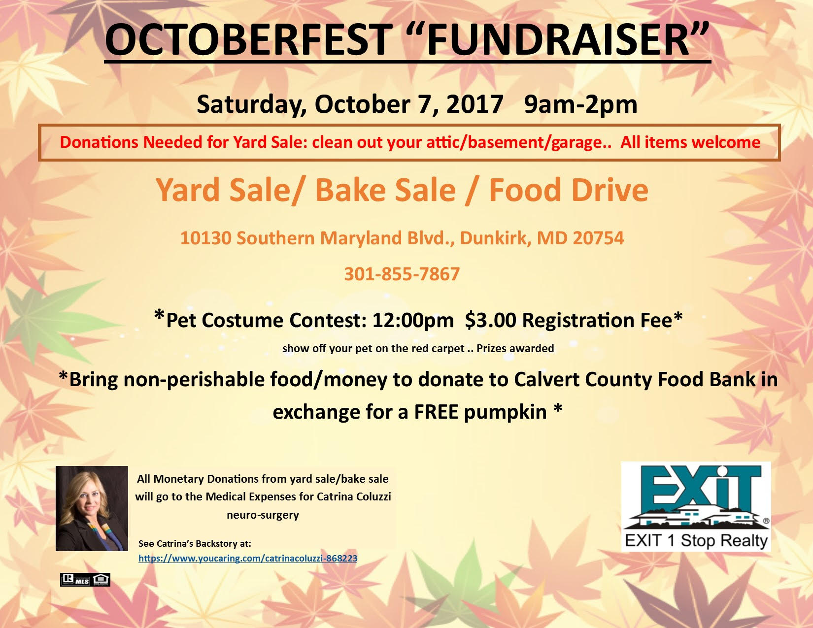 Octoberfest Yard Sale & Pet Costume Contest hosted by Exit 1 Stop Realty