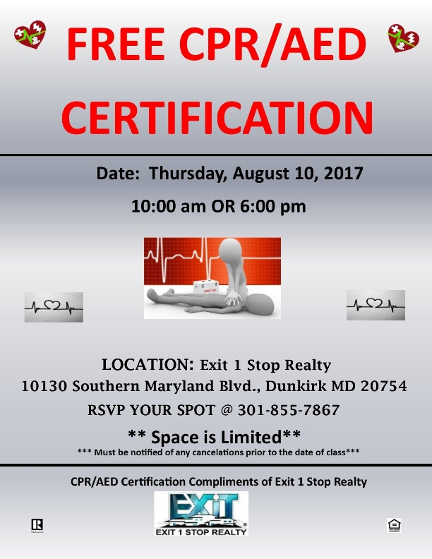 Free Cpr Training Hosted By Exit 1 Stop Realty