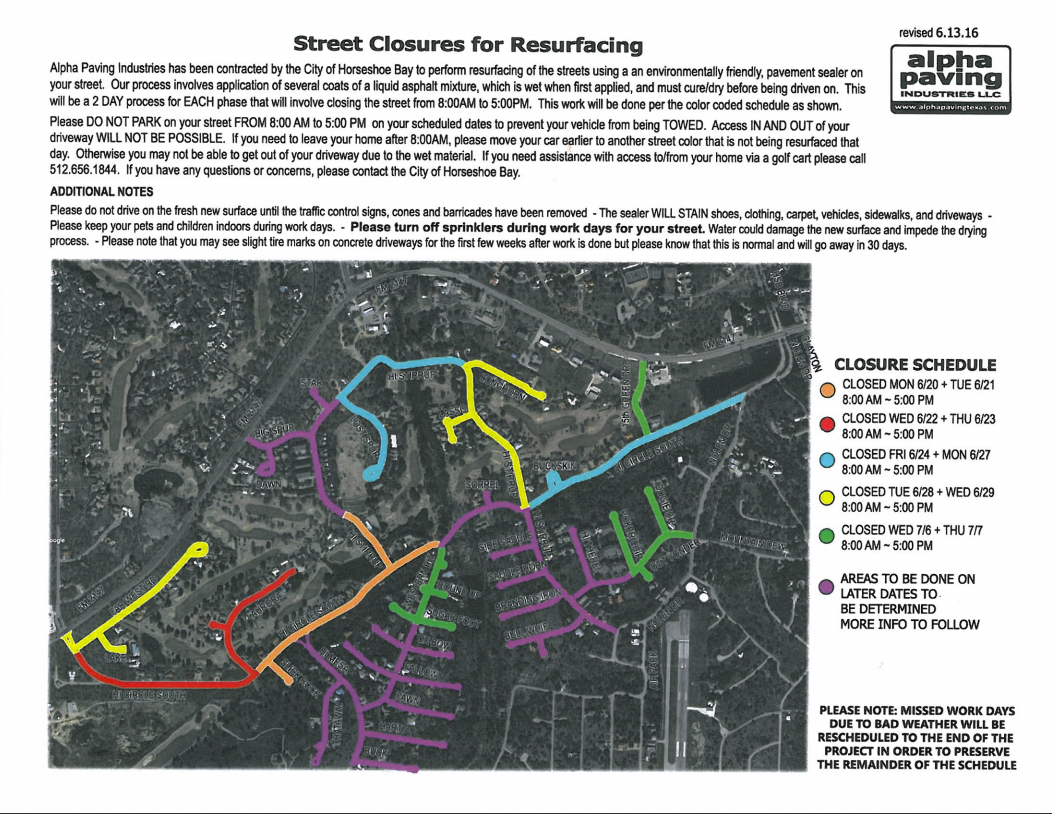 Horseshoe Bay Road Closures Map and Schedule